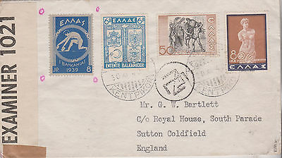 1940 Good Greece Cover With Stamps Mailed To Sutton Opened By English Censor