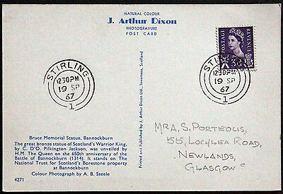 Scotland Stirlingshire Stirling 1967 Double Circle Pmks On Bruce Statue Ppc