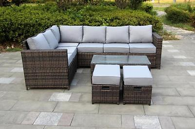 Conservatory Classical Rattan Garden Furniture set 8 Seater Corner set BROWN