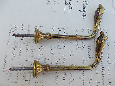 Vintage French Curtain Tieback Hooks Feather Finial Detail 1 Pair 4 Inches