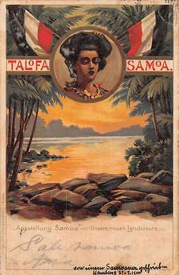 Talofa Samoa Exhibition Greetings Lady German Flag  Antique Postcard J60141