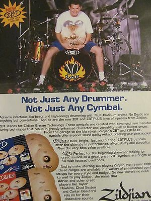 No Doubt, Zildjian Cymbals, Full Page Promotional Ad
