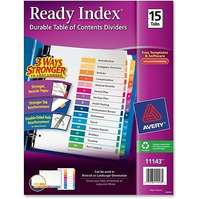 Avery Ready Index Table of Contents Reference Divider 11143