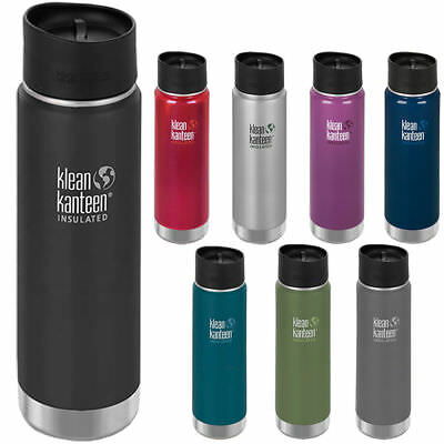 Klean Kanteen Wide Mouth 20 oz Insulated Bottle with Cafe Cap 2.0 - PICK COLOR