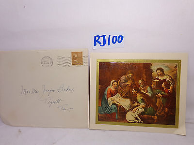 Vintage Christmas Card-Envelope-Stamp 1947 40's Party Mary-Jesus-Joseph