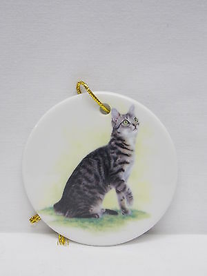 Grey, Black & White Tabby Cat 3 In Round Porcelain Christmas Tree Ornament