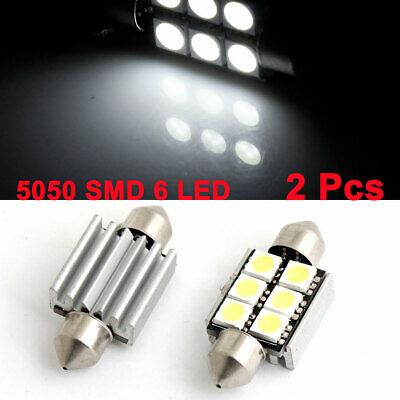2 Pcs 39mm Festoon Canbus White 5050 SMD 6 LED Car Dome Light w Heat Sink