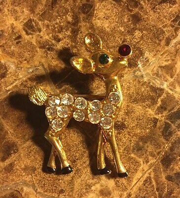 Eisenberg Ice Rudolph The Red Nose Reindeer Christmas Pin Brooch