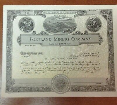 Old unnissued Portland Mining Company Stock Certificate Wallace Idaho