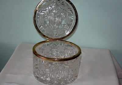 Vintage Pressed & Etched Glass Floral Round Powder Box Hinged