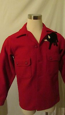 Vintage Official Boy Scouts of America Red Wool Two Pocket Jacket BSA Size 40