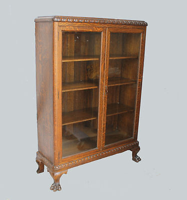Antique Oak Double door Bookcase – carved claw feet