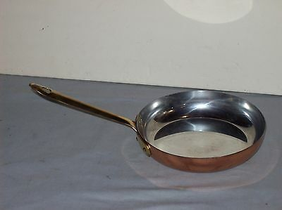 """COPPER DOURO B&M PORTUGAL Shiny 6 1/2"""" Skillet w/ Brass Handle Tin Lined"""
