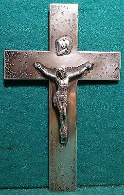Vtg SOLID STERLING SILVER DECORATED WALL CRUCIFIX CROSS 192mm