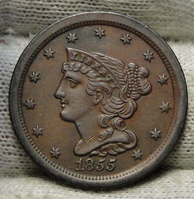 1855 Braided Hair Half Cent - Rare Only 56,500 Minted . Nice Coin (5545)