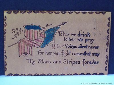 Leather Postcard 1906 Patriotic Flag Shield The Stars & Stripes Forever Toast