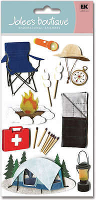 Jolee's CAMP Stickers OUTDOORS TENT SLEEPING BAG FISHING FIRE LANTERN SMORES