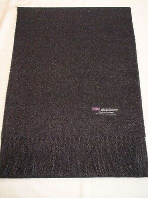 100% Cashmere Scarf Soft 72X12 Solid Charcoal Grey Scotland Check Plaid Wool Men