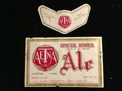 Aetna Spec. Dinner Ale Taxpaid Label+Band 12 Oz 1930S Aetna Brewery Hartford Ct
