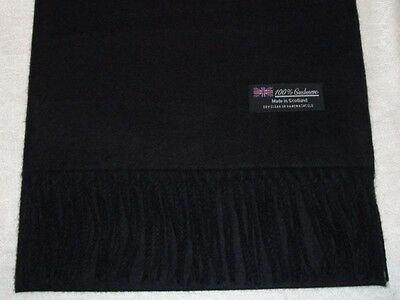 100% Cashmere Scarf Soft 72X12 Solid Black Scotland Wool Check Plaid Wrap Men