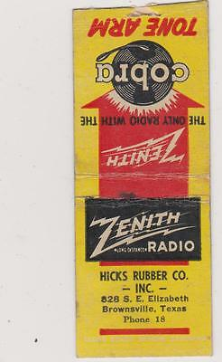 Hicks Rubber Co-Brownsville,tx Matchbook Cover Free Shipping U.s
