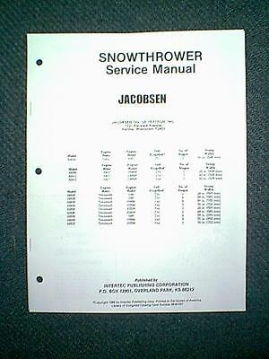 Jacobsen Snow Blower Models 51610 Thru 52642 Service Manual