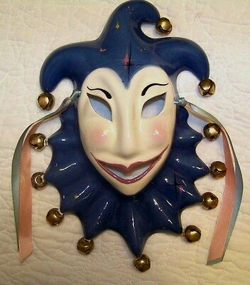 New Orleans Vintage 1989 Jester Mardi Gras Ceramic Face Mask Wall Hanging