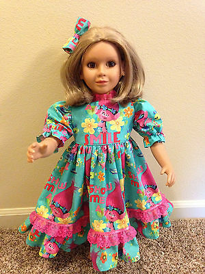 """ADORABLE TROLL DRESS & HAIR BOW made to fit  the 23"""" MY Twinn DOLLS (Nice Gift)"""