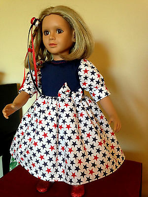 """BEAUTIFUL RED/WHITE/BLUE STARS DRESS & HAIR BOW made for the 23"""" MY Twinn DOLLS"""