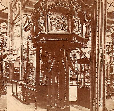 g578. Stereoview SVC Real Photo Phila Centennial Expo Pulpit by E&H Schroeder