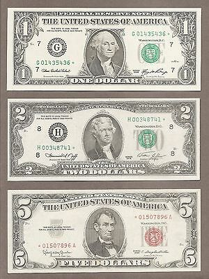 $1 2006 + $2 1976H + $5 1963 - ( 3 ) Green + Red Seal *STAR* Notes