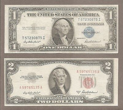 $1 1935F + $2 1953A - ( 2 ) VF Blue & Red Seal * Miscut * Notes