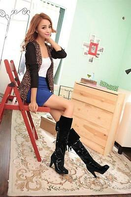 Sexy Womens Patent Leather Nightclub Pole dance Knee High Boots Riding Shoes 8