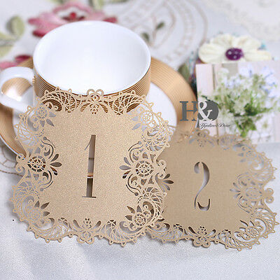 10pcs Lace Cut Gold Paper Table Card Party Wine Cup Marked Favors Number 1-10
