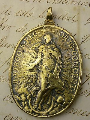 RARE Antique Spanish Shipwreck Catholic Immaculate Conception & St Michael Medal