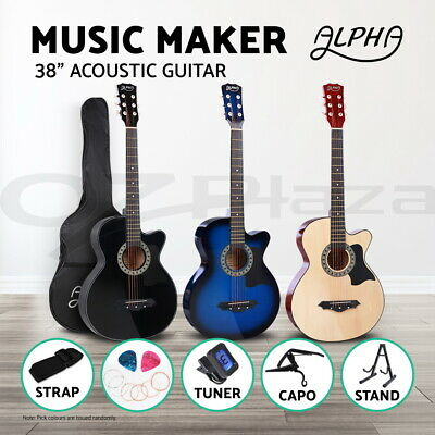 "ALPHA 38"" Inch Wooden Folk Acoustic Guitar Classical Cutaway Steel String Bag"