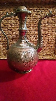 Antique 18th c. Ottoman Turkish Hand Chased Copper IBRIK Water Ewer
