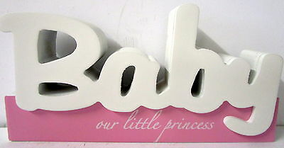 """Baby Keepsake """"our Little Princess"""" Timber Table Sign Baby Shower Newborn Gift"""