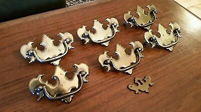 Lot of 6 Antique Vintage Victorian Brass Bail Handles Pulls & Key Hole Plate