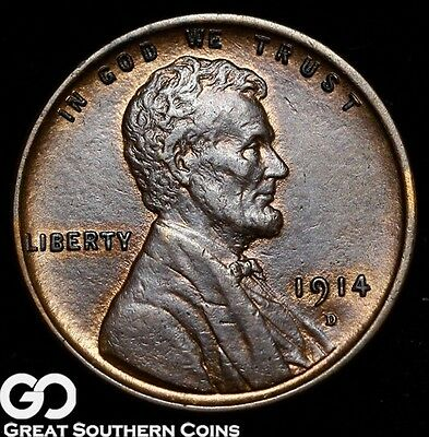 1914-D Lincoln Cent Wheat Penny, Super Tough This Nice, Uncirculated++ Key Date!