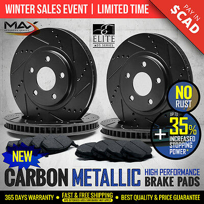 2013 Fits Nissan Rouge Black Slotted Drilled Rotor Metallic Pads Front and Rear