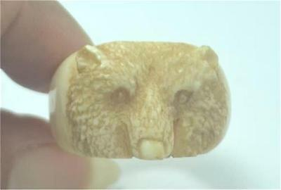 Hand Carved Bear Antique Color Natural Buffalo Bone Ring US Size 10 RG198 T4389