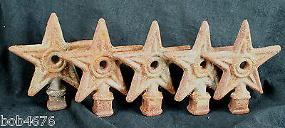 LOT of 5 Antique Cast Iron STAR victorian fence post topper finial TEXAS TEXANA
