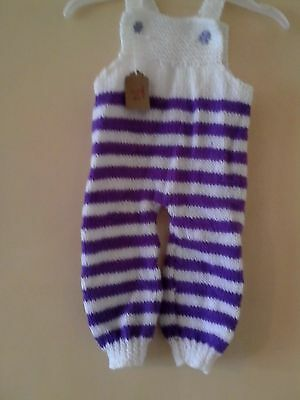 HANDKNITTED DUNGAREES 3-6 mths MTHS NEW!!!!!!!!!!!