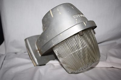Vintage Industrial Holophane Wall Mounted Light Fixture Aluminum 120v