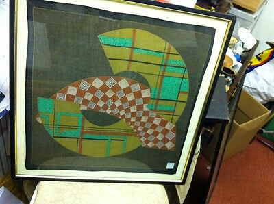Chinese Modernist Textile Signed And Framed 19.5 X 19.75 Free Uk Postage