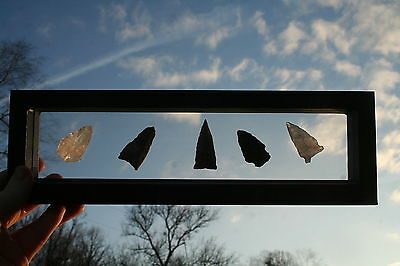 10x2 FLOATING DISPLAY CASE SHADOW BOX INDIAN ARTIFACT ARROWHEADS SEE BOTH SIDES