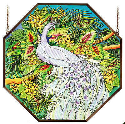 "Peacock Beauty Palms Tropical Floral 22"" Octagon Wall Art Glass Window Panel"