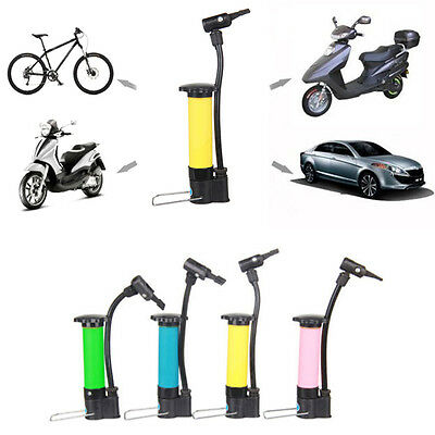 New Cycling Bicycle Mini Portable Hand Air Pump Tyre Sports Ball Inflator Attach