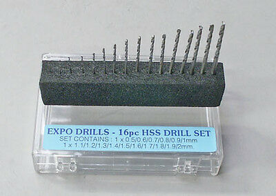 Expo 16pc Drill Set 0.5mm-2mm # 11516